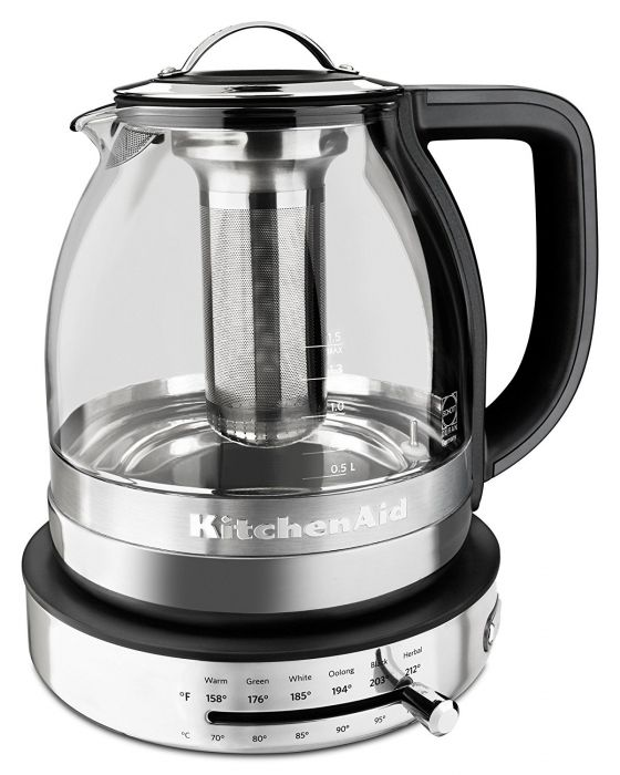 KitchenAid 1.5L Electric Glass Tea Kettle - Stainless